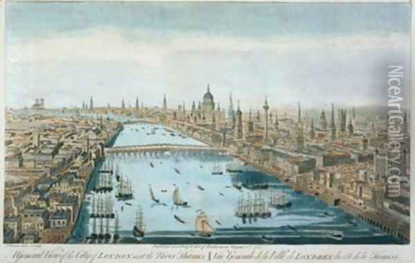 A General View of the City of London and the River Thames, plate 2 from 'Views of London', 1794 Oil Painting - Thomas Bowles