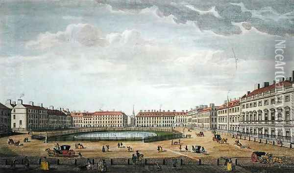 A View of St. James's Square, London, 1753 Oil Painting - Thomas Bowles