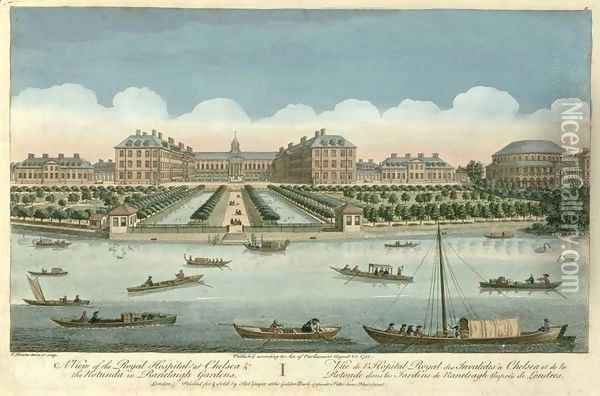 A View of the Royal Hospital at Chelsea and the Rotunda in Ranelaigh Gardens, 1751 Oil Painting - Thomas Bowles