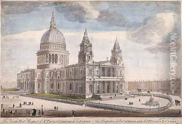 The North West Prospect of St Paul's Cathedral in London (2) Oil Painting - Thomas Bowles