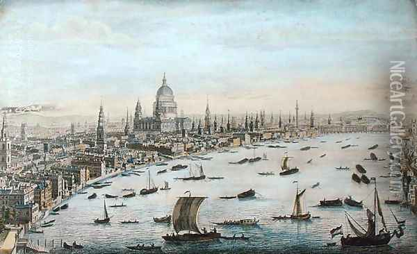 The South West Prospect of London, from Somerset Gardens to the Tower (2) Oil Painting - Thomas Bowles