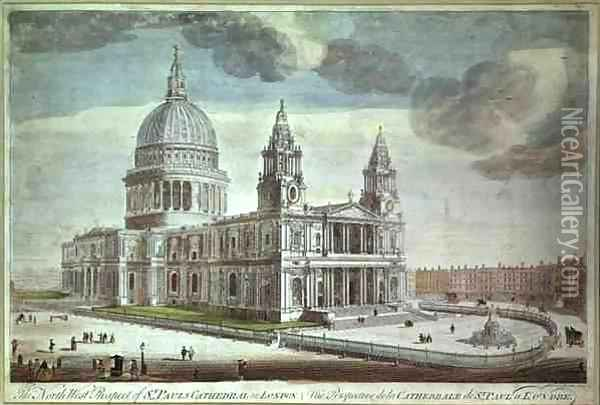The North West Prospect of St Paul's Cathedral in London (1) Oil Painting - Thomas Bowles