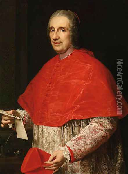 Portrait of a Cardinal, half-length, in robes of office, holding his biretta and a letter Oil Painting - Pompeo Gerolamo Batoni