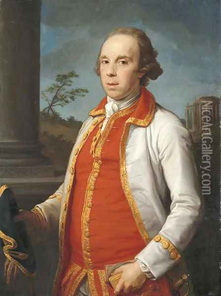 Portrait of Robert Udny (1722-1802), half-length, in a gold-trimmed coat, holding a hat and gloves in his right hand, the Temple of the Sybil at Tivol Oil Painting - Pompeo Gerolamo Batoni