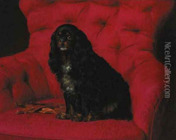 A cavalier King Charles spaniel Oil Painting - Otto Bache