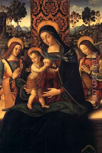 The Virgin and Child with Two Angels 1475-80 Oil Painting - Bernardino di Betto (Pinturicchio)