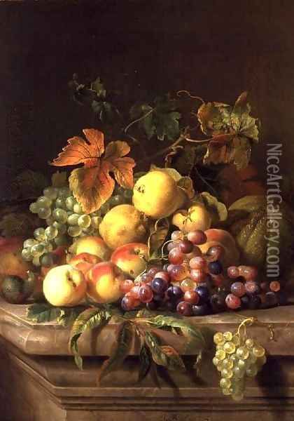 A Still Life of Melons, Grapes and Peaches on a Ledge Oil Painting - Jakab Bogdany