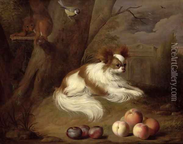 A Spaniel by a Tree with a Squirrel and a Blue-tit Oil Painting - Jakab Bogdany