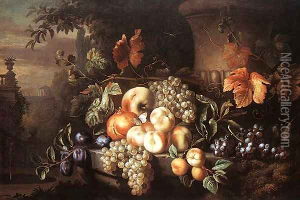 Fruit-piece with Stone Vase (Gyumolcscsendelet kovazaval) Oil Painting - Jakab Bogdany