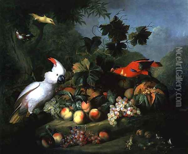 Fruit and Birds Oil Painting - Jakab Bogdany