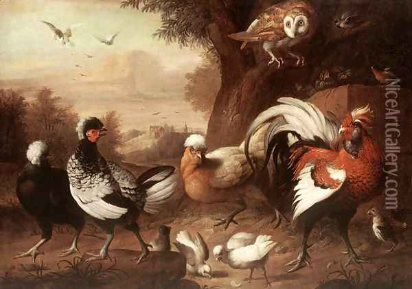 Fowls and Owl, (Baromfiak és bagoly) Oil Painting - Jakab Bogdany