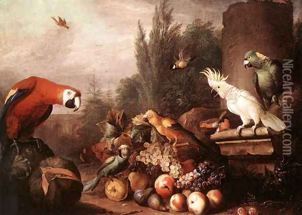 Still-life with Birds 1710s Oil Painting - Jakab Bogdany