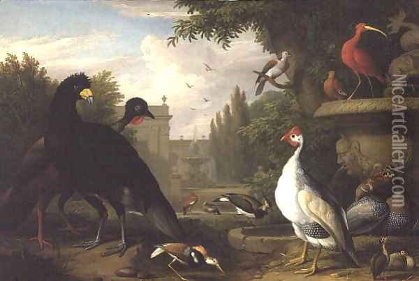 Exotic fowl in an ornamental garden Oil Painting - Jakab Bogdany