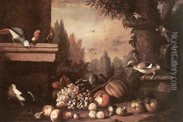 Fruit with Birds and Guinea-pig Oil Painting - Jakab Bogdany
