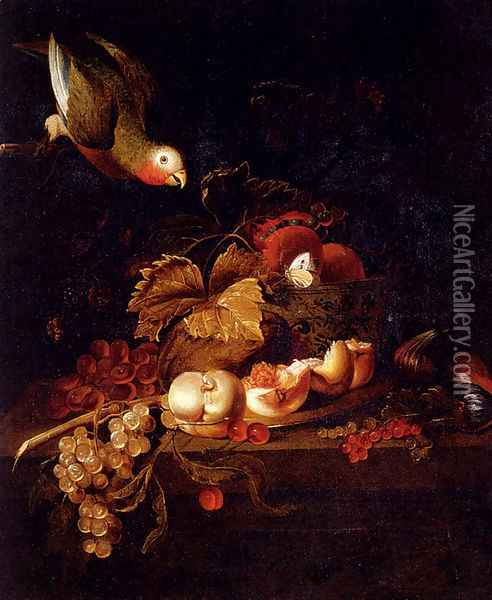 Still Life Of Grapes, A Halved Peach And Cherries Resting On A Table With A Parrot Oil Painting - Jakab Bogdany