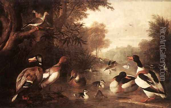 Landscape with Ducks Oil Painting - Jakab Bogdany