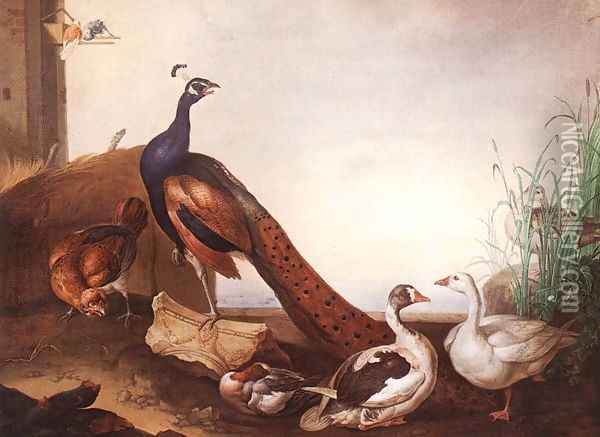Peacock with Geese and Hen Oil Painting - Jakab Bogdany