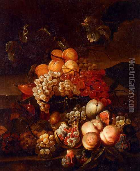 Still Life Of Grapes, Peaches, And Figs With A Landscape Beyond Oil Painting - Jakab Bogdany