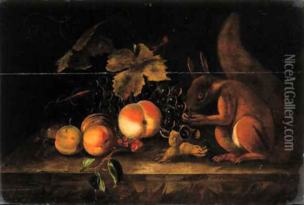 Grapes, peaches, red currants and hazelnuts with a squirrel on a ledge Oil Painting - Jakab Bogdany
