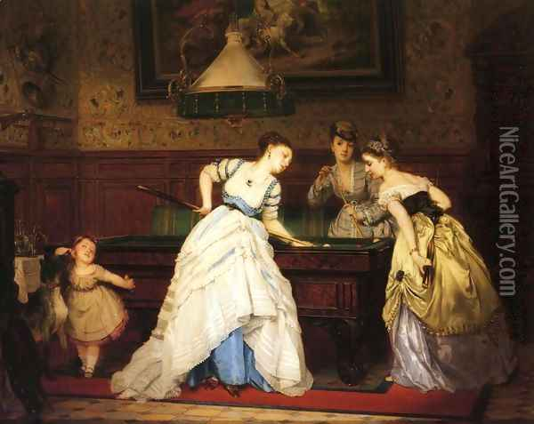 The Game of Billiards Oil Painting - Charles Edouard Boutibonne