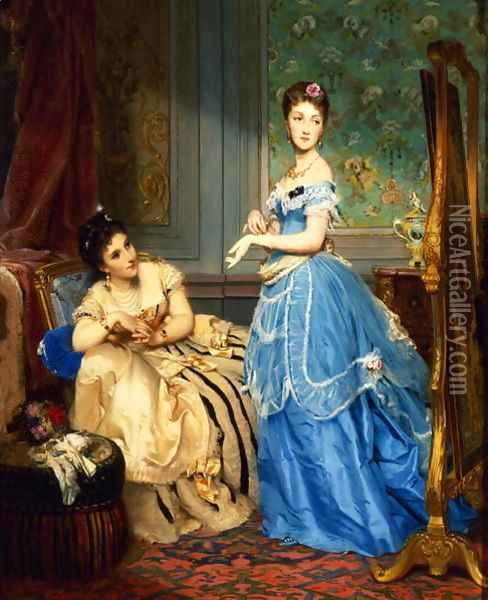 Getting Dressed, 1869 Oil Painting - Charles Edouard Boutibonne