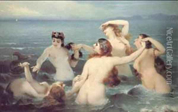 Mermaids Frolicking in the Sea Oil Painting - Charles Edouard Boutibonne