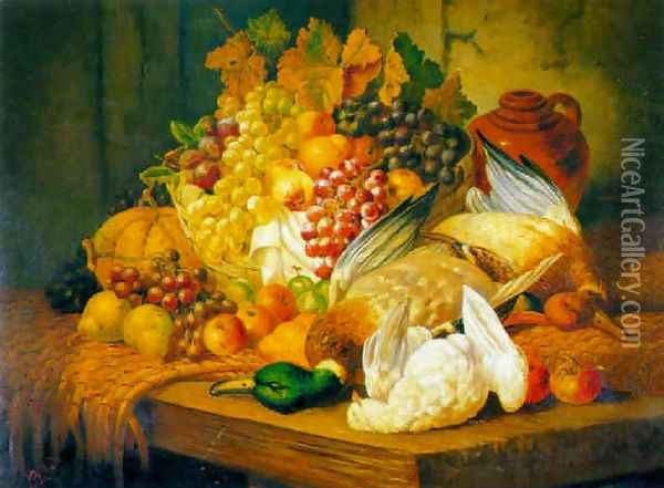 Still life with fruit and fowl Oil Painting - Charles Thomas Bale