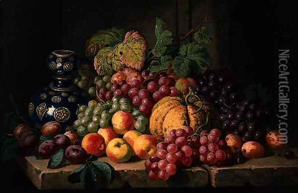 Still Life with Fruit and a Blue Vase Oil Painting - Charles Thomas Bale