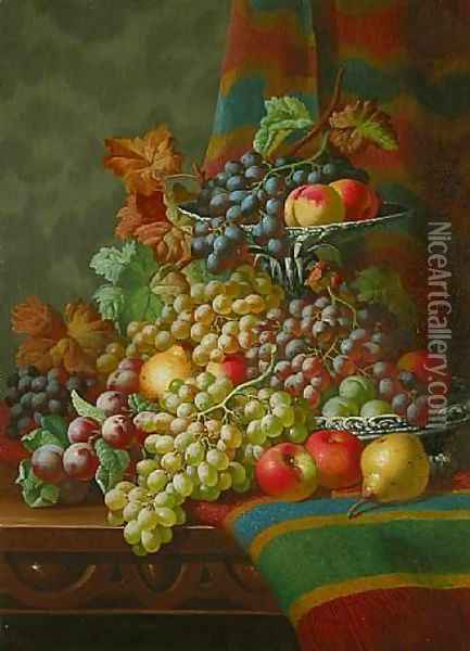 Still Life with Grapes on a Ledge Oil Painting - Charles Thomas Bale