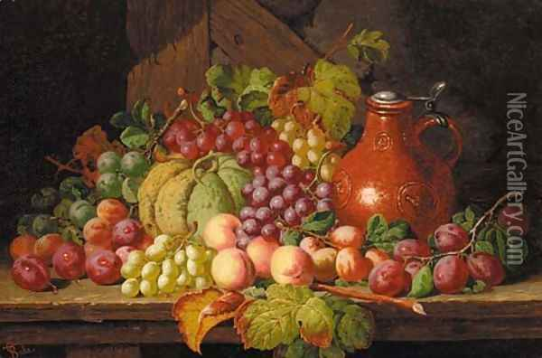 Grapes, peaches, plums, a gourd and a bellarmine, on a wooden ledge Oil Painting - Charles Thomas Bale
