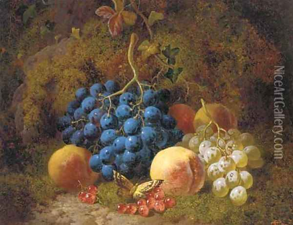 Grapes, peaches, redcurrants, and a butterfly, on a mossy bank Oil Painting - Charles Thomas Bale