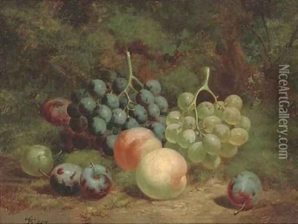 Peaches, grapes and plums on a mossy bank Oil Painting - Charles Thomas Bale
