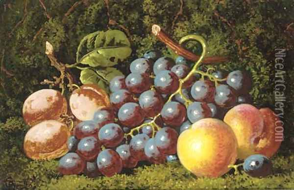 Plums grapes and peaches Oil Painting - Charles Thomas Bale