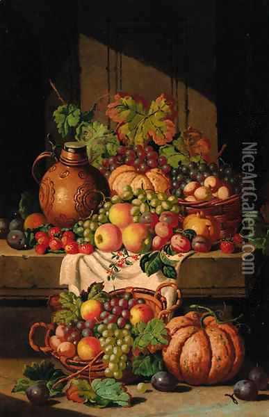 A flask on a ledge, with baskets of grapes, plums, apples and squashes Oil Painting - Charles Thomas Bale