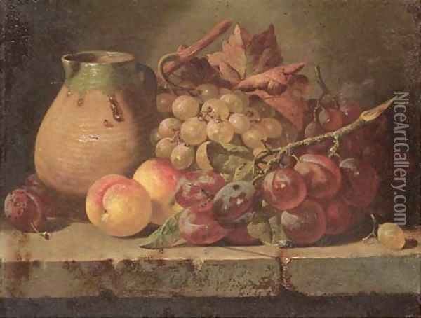 Grapes, plums, and peaches with a jug on a ledge Oil Painting - Charles Thomas Bale