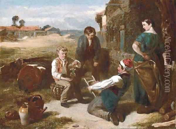 The young puppeteers Oil Painting - Charles Thomas Bale