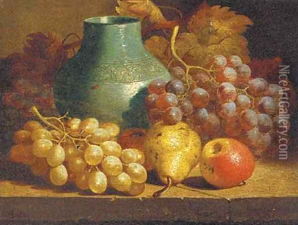 Apples, grapes, a pear and a blue jug on a table Oil Painting - Charles Thomas Bale