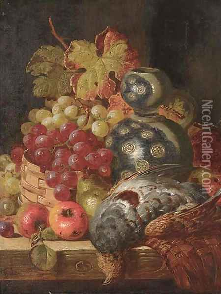 Fruit and game on a ledge Oil Painting - Charles Thomas Bale