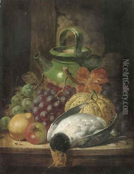 Grapes, a pumpkin, apple, pear, pigeon and pot, on a table Oil Painting - Charles Thomas Bale
