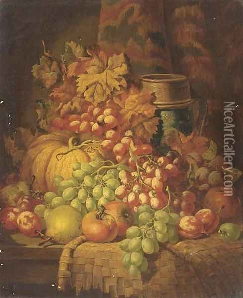 Grapes, apples, pears, plums, a gourd, and a stoneware tankard, on a ledge Oil Painting - Charles Thomas Bale