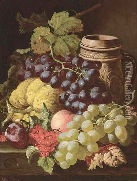 Grapes, redcurrants, plums, a peach, a gourd, and a stoneware tankard, on a wooden ledge Oil Painting - Charles Thomas Bale