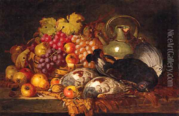 Grapes, Apples, Pears, Dead Game, A Wicker Basket And Stoneware Jug, On A Wooden Ledge Oil Painting - Charles Thomas Bale