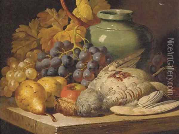 Grapes, pears, an apple, a jug and game on a shelf Oil Painting - Charles Thomas Bale