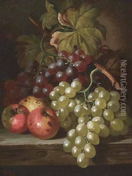 Grapes and apples on a wooden ledge Oil Painting - Charles Thomas Bale