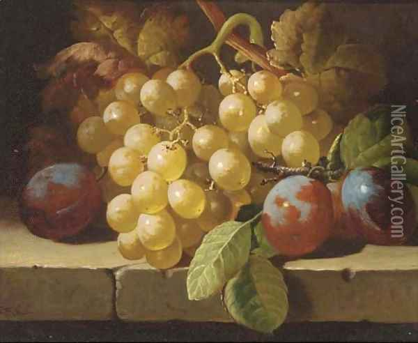 Grapes and plums on a stone ledge Oil Painting - Charles Thomas Bale