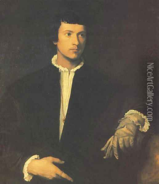 Portrait Of An Old Man With Gloves? Oil Painting - Marcantonio Bassetti