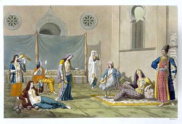 A Persian Harem, from 'Le Costume Ancien et Moderne' Oil Painting - G. Bramati