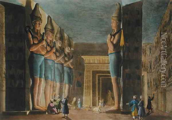 Temple of Ramesses II (1279-13 BC) Abu Simbel, Egypt, plate 4 from 'Le Costume Ancien et Moderne' Oil Painting - G. Bramati