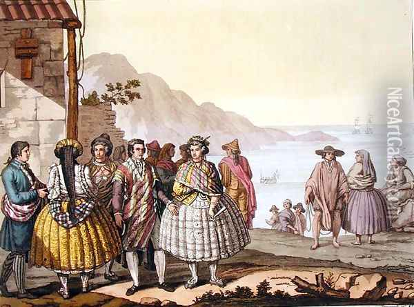Men and women in elaborate costume, Chile, from 'Le Costume Ancien et Moderne' Oil Painting - G. Bramati