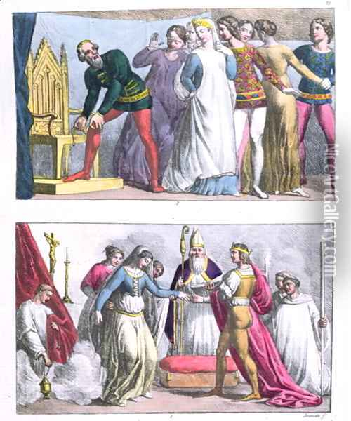 Institution of the Order of the Garter by Edward III (1312-77) in 1348 and the marriage of Henry I (1068-1135), from 'Le Costume Ancien et Moderne' Oil Painting - G. Bramati